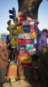 Çınar agacına, 10 Ekim Ankara katliamında hayatını kaybedenlerin anısına battaniye sarıldı